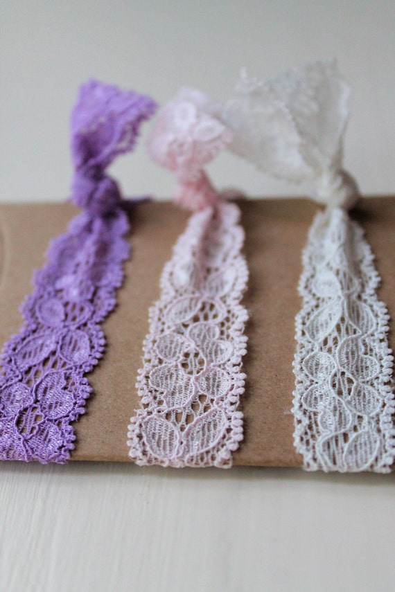 Lace Elastic Hair Ties - Pastel Collection - knotted hair ties - ponytail holders