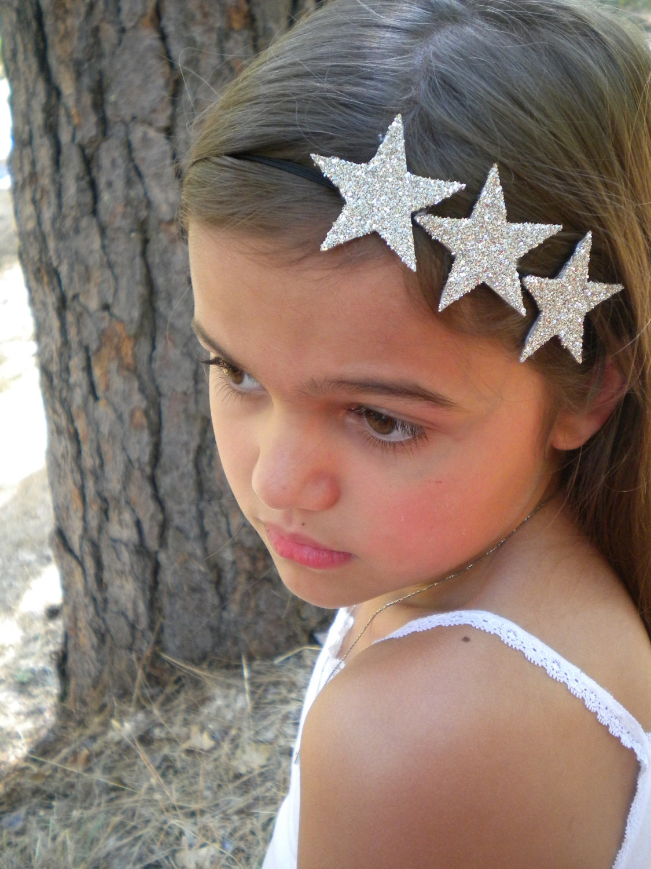 silver glitter star headband three silver stars on a skinny