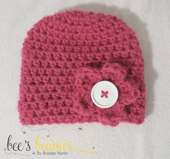 Pink Crochet Beanie with Button Flower - Size 3 to 6 Months
