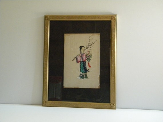 RESERVED Antique chinese export watercolor pith painting 19th century