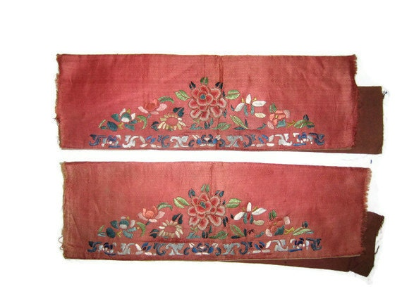 Pair of antique chinese embroidery silk sleeve fragments with flowers in forbidden stitch