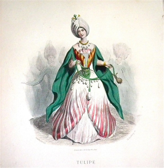 Tulipe hand colored plate from Les Fleurs Animees by JJ Grandville