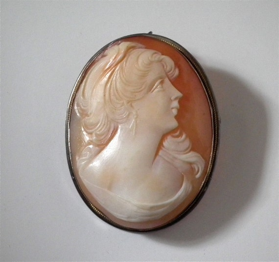 RESERVED FOR LINDA Cameo shell brooch pendant marked 800 silver