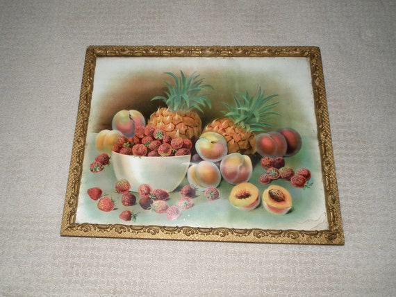 Still life fruit print with pineapple strawberries and peaches in gold frame