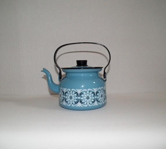 Finel Finland blue enamel tea kettle with tulip design