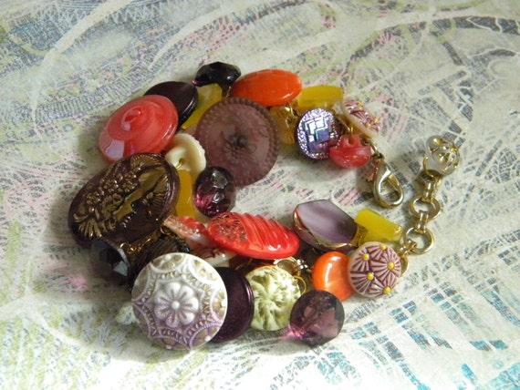 Vintage button bracelet purple orange yellow iridescent glass buttons