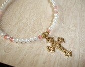 CHILDS  Pearl Cross Necklace Pink Gold Beads Easter Flower Girl Princess Wedding OOAK By Spirit Designs By KC