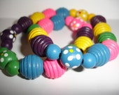 SPRING SUMMER Bead Bracelet Colored Wooden Beads Mothers Day Shabby Chic Graduation....by Spirit Designs by KC