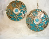 SUMMER TEAL Hoop Earrings Bronze Teal Flowers Beads Shabby Wedding Country Chic Boho.....by Spirit Designs by KC