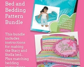 Bed and Bedding pattern bundle. Instructions for making a bed, pillow case, quilt and throw pillows for 18 inch dolls like American Girl.