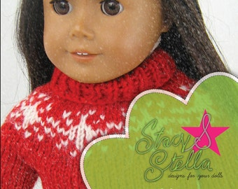 Holiday Sweater knitting pattern for American Girl 18 inch doll