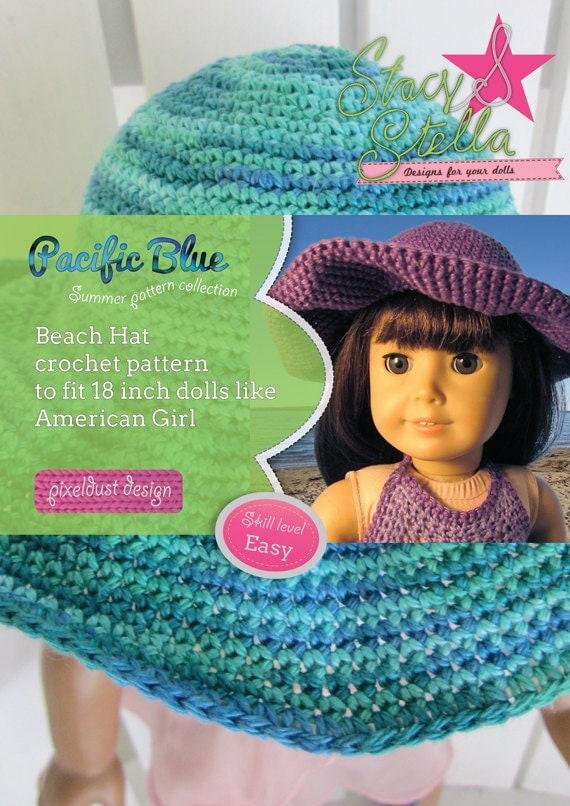 Floppy Sun Hat crochet PDF pattern for 18 inch dolls like American Girl - INSTANT DOWNLOAD.