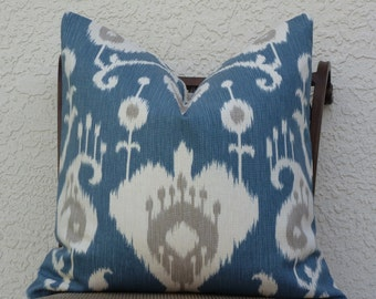 Decorative Pillow Cover -  Home Decor Designer Fabric - SAME Both Sides -Blue/Cream -  Ikat - Accent Pillow - Throw Pillow