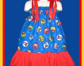Thomas The Train Boutique Pillowcase Dress w/ Red Solid Layer Sizes: Toddlers Girls