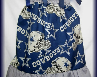 NFL Dallas Cowboys Football Helmet Boutique Pillowcase Dress Sizes 3t/4t 5/6 7/8