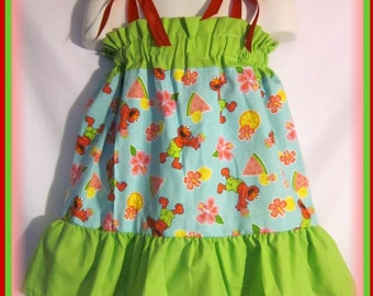 Size 12/18M Sesame Street Elmo Boutique Pillowcase Dress w/ Lime Green Layers