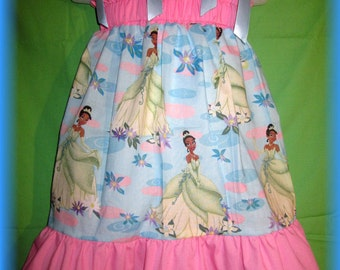Sky Blue Princess Tiana & The Frog Boutique Pillowcase Dress w/ Pink Solid Layers