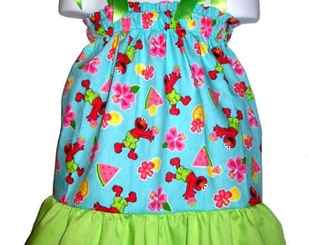 Size 5/6 Sesame Street Elmo Boutique Pillowcase Dress w/ Solid Lime Layer