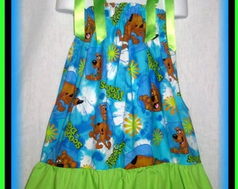 Scooby Doo Boutique Pillowcase Dress w/ Solid Lime Layer Sizes: Toddler & Girls