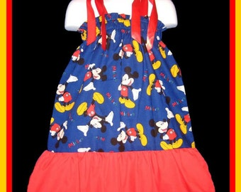 Mickey Mouse Boutique Custom Made Pillowcase Dress w/ Solid Red Layer
