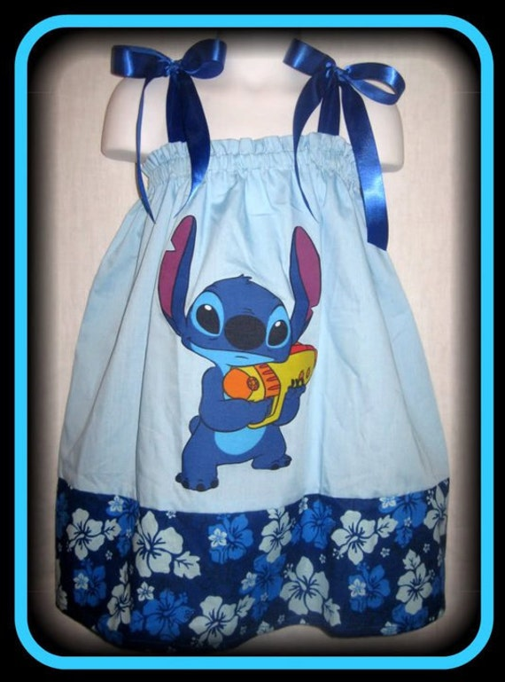Disney Stitch Boutique Pillowcase Dress w/ Blue/White Hawaiian Print Layer 24M/2T 3T/4T 5/6 7/8