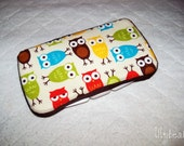 Baby Wipes Case- owls with cream background and brown ribbon