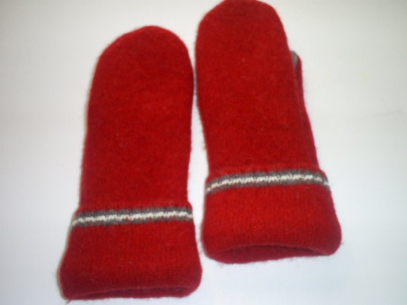Wool Mittens from Recycled Sweaters, Fleece Lined - Women's  Dk. Red with White and Gray