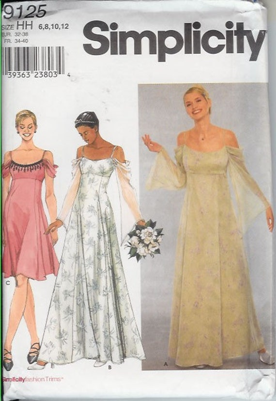Wedding Dress Patterns Empire Line : Empire waist gown or dress with draped sleeves sewing pattern