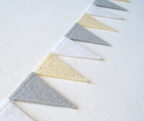 Grey White Pale Yellow Pennant Banner Garland - 47 inches