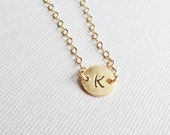 Gold Initial Necklace- Hand Stamped Custom Initial-14k Gold Filled Chain