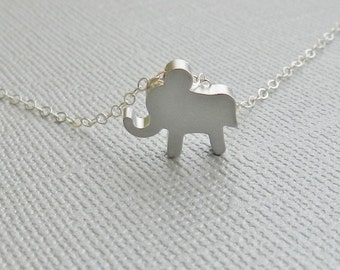 Tiny Elephant Necklace In Sterling Silver Chain, Silver Elephant Necklace, Stocking Stuffer, Birthday Gift, Christmas Gift
