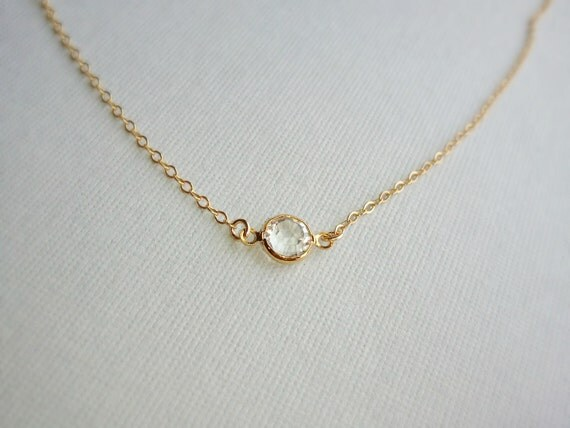 Sale Tiny Gold Clear Crystal Necklace Also Available in silver