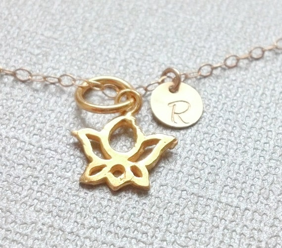 SALE- Tiny Lotus flower and Initial Gold Necklace- Personalized/custom