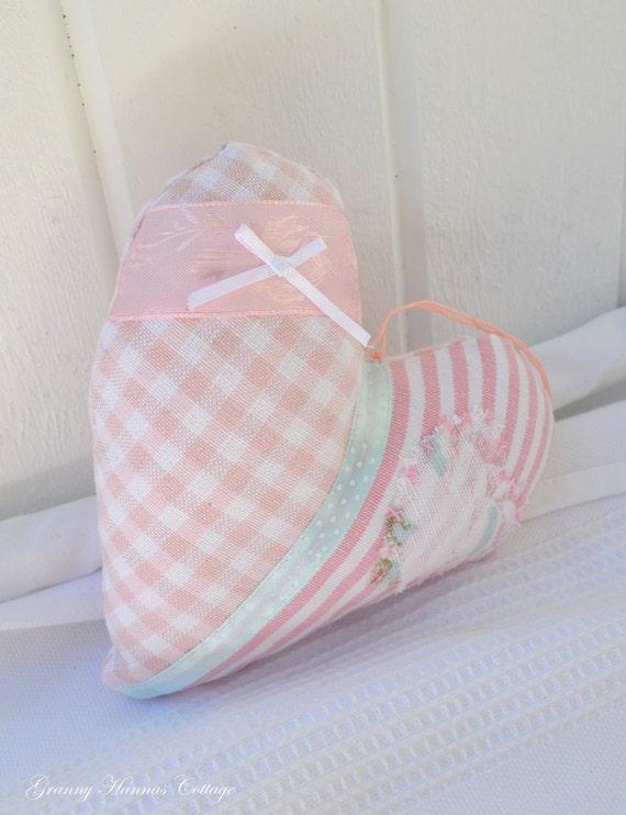 Fabric heart pink polka dot white handmade in Sweden