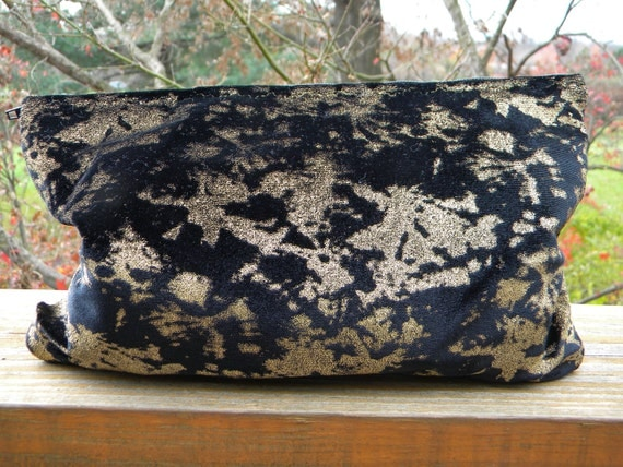 SALE - Golden Velvet Statement Clutch