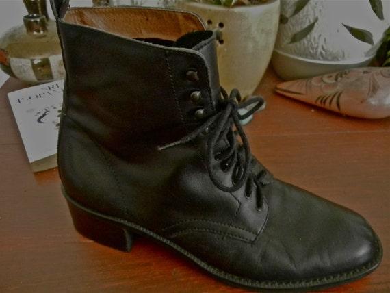 Vintage Grunge Lace Up Black Boots Circa 89' Size 7