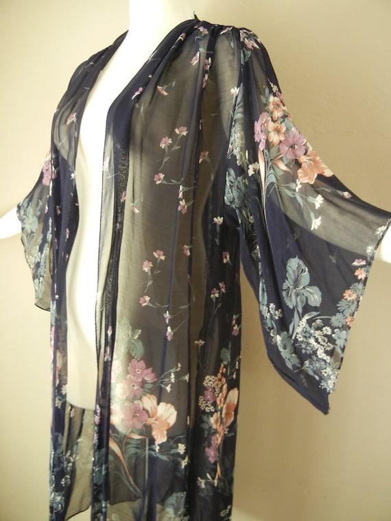 Vintage 70s Chiffon Kimono Sleeve Duster Jacket