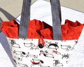 Ruffle Handbag & Accessory Bag - Red, White and Black / Walking the Dog