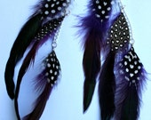 Tri Purple Keaton Simons Guitar Pick Feather Earrings (Pair) - Custom Made