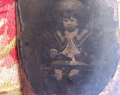 Antique Tintype Photograph - Little Boy in Sailor Suit and Hat