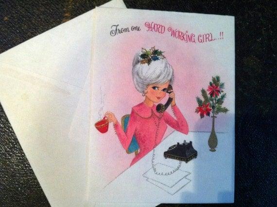 Vintage Christmas Card (unused) Office Girlfriends (1960s)