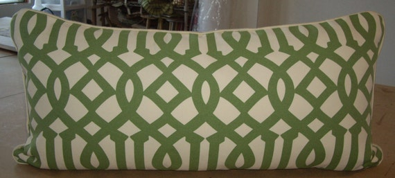 """One Large Kelly Wearstler Schumacher Trelliage and Ivory """"IMPERIAL TRELLIS"""" Printed Down Pillow 18"""" by 34"""""""