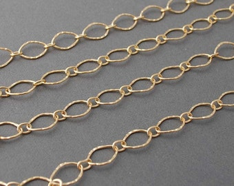 Gold Fill Long Hammered Oval Link Necklace also in Sterling Silver