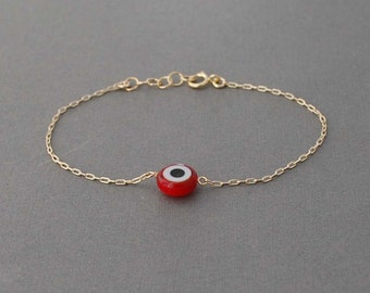 Red Evil Eye Bracelet available in gold , rose gold and silver