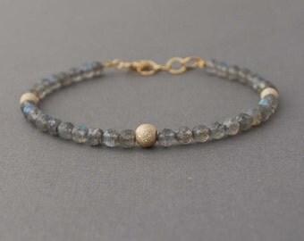 Gray Labradorite Stone Layer Beaded Bracelet
