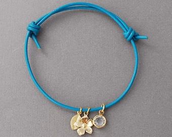 Flower, Leaf, and Crystal Adjustable Leather Bracelet Gold or Silver