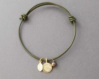 Lotus, Leaf Pearl Adjustable Leather Bracelet Gold or Silver