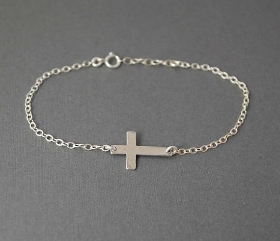Sterling Silver Sideways Cross Bracelet Horizontal