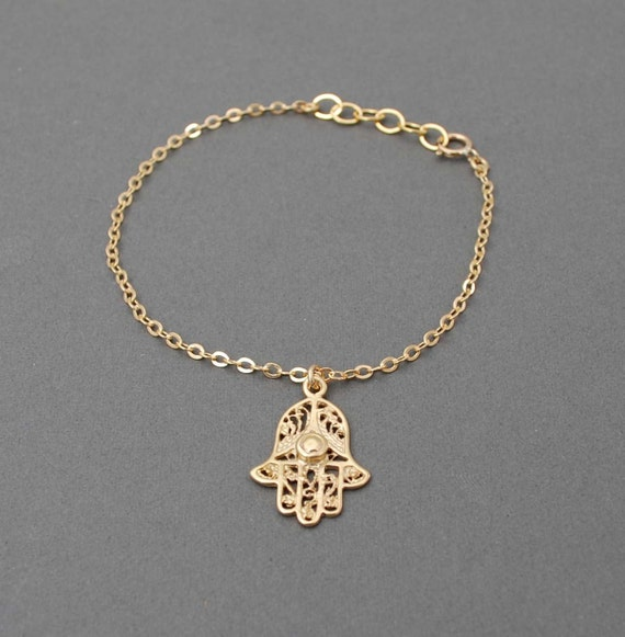 Gold Hamsa Hand Bracelet also available in sterling silver.