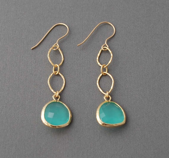 Seafoam Teal Set Glass Gold Earrings